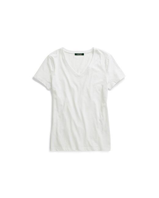 Ralph Lauren - White Jacquard V-neck Sleep T-shirt - Lyst