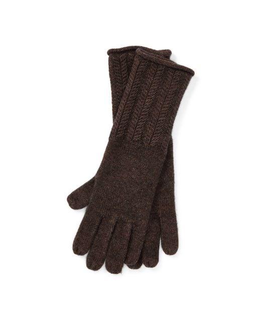Ralph Lauren - Brown Wool-blend Herringbone Gloves - Lyst