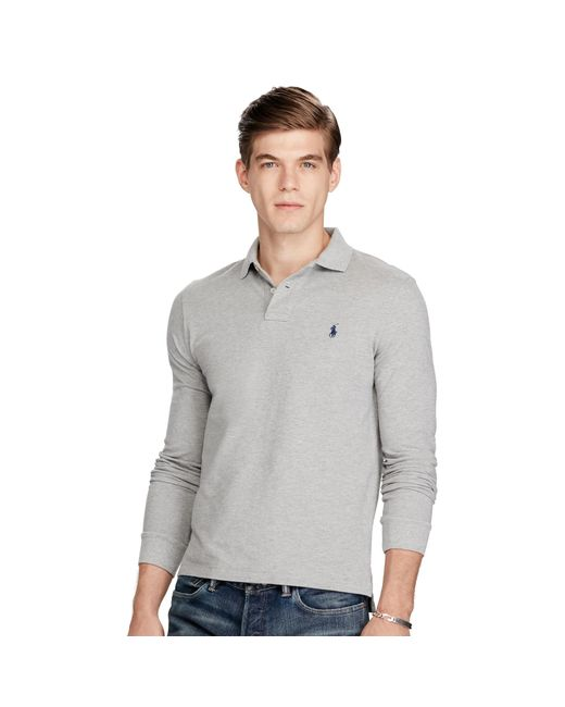 Polo Ralph Lauren | Gray Slim-fit Long-sleeved Polo for Men | Lyst