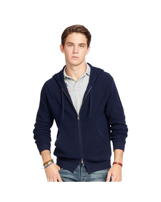 Polo Ralph Lauren | Blue Merino Wool Full-zip Hoodie for Men | Lyst