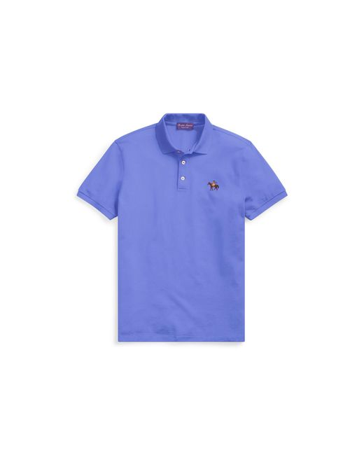 Ralph Lauren Purple Label - Blue Custom Slim Fit Piqué Polo for Men - Lyst
