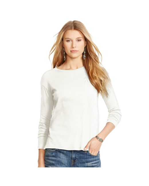 Polo Ralph Lauren | White Drapey Long-sleeved Tee | Lyst