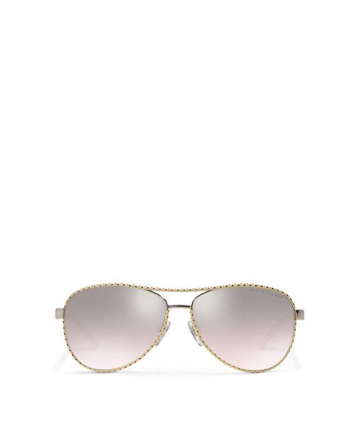Ralph Lauren   Metallic Automotive Leather Sunglasses   Lyst
