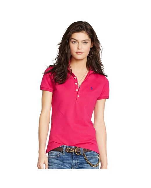 Polo Ralph Lauren | Pink Skinny-fit Stretch Polo Shirt | Lyst
