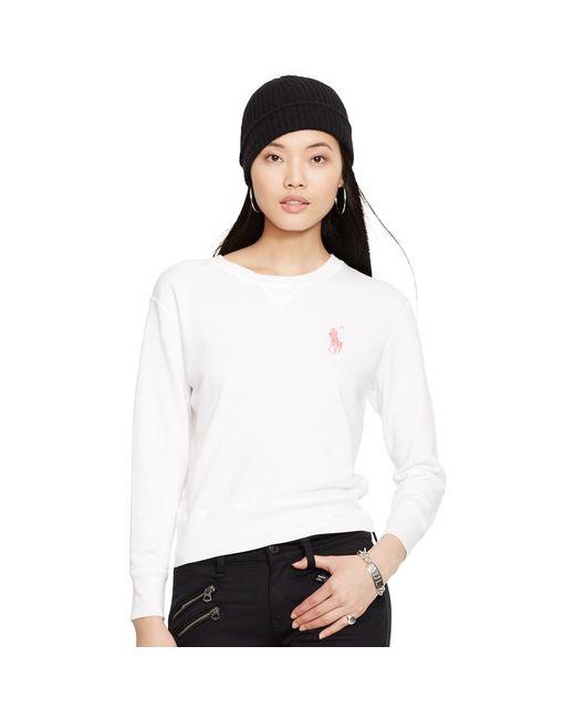 Ralph Lauren | White Pink Pony Crewneck Sweatshirt | Lyst