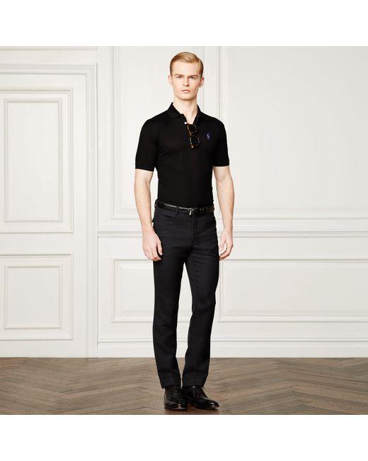 Ralph Lauren Purple Label | Black Custom-fit Piqué Polo Shirt for Men | Lyst