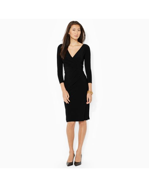 Ralph Lauren | Black Faux-wrap Jersey Dress | Lyst