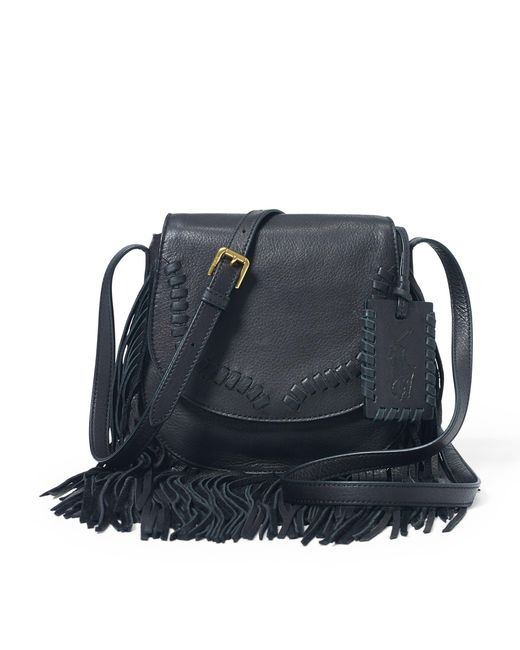 Polo Ralph Lauren | Black Fringe Leather Crossbody Bag | Lyst