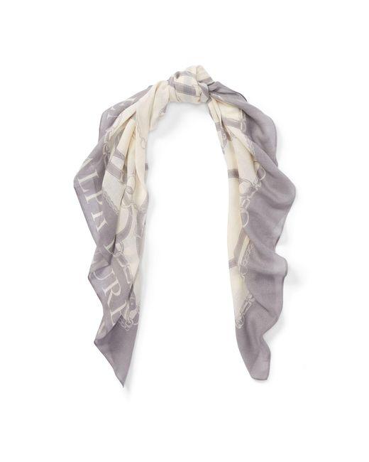 Ralph Lauren - Gray Bridle-print Wool-blend Scarf - Lyst