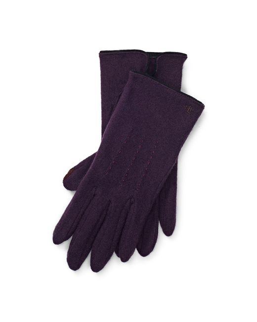 Ralph Lauren - Purple Lambswool-blend Tech Gloves - Lyst