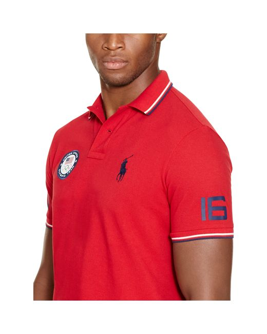 ... Polo Ralph Lauren | Red Team Usa Custom-fit Mesh Polo for Men | Lyst ...