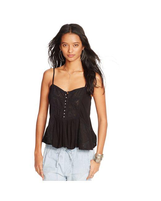 Denim & Supply Ralph Lauren   Black Lace-trim Jersey Camisole   Lyst