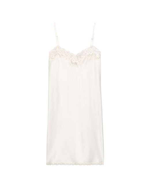 Ralph Lauren - White Lace-trim Satin Chemise - Lyst