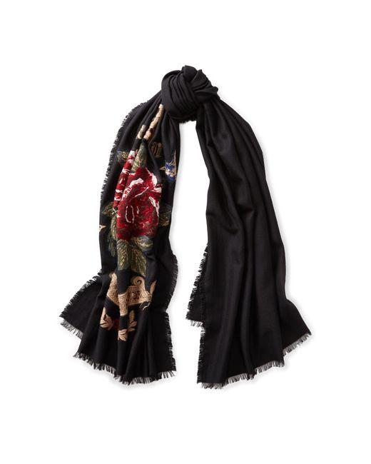 Ralph Lauren | Black Flower Crown Scarf | Lyst