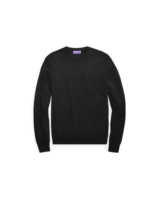 Ralph Lauren Purple Label - Black Cashmere Crewneck Sweater for Men - Lyst