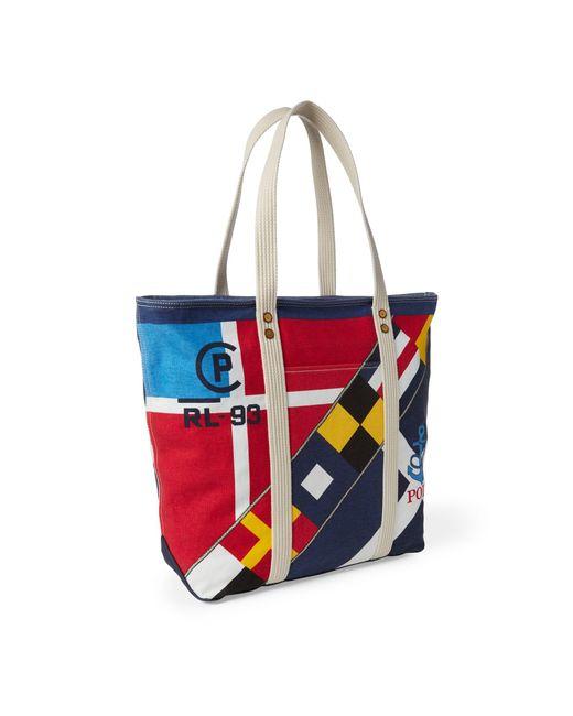 3e4a05a6cb ... Polo Ralph Lauren - Red Sailboat Cotton Canvas Tote - Lyst ...