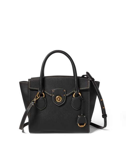 Ralph Lauren - Black Pebbled Leather Medium Satchel - Lyst