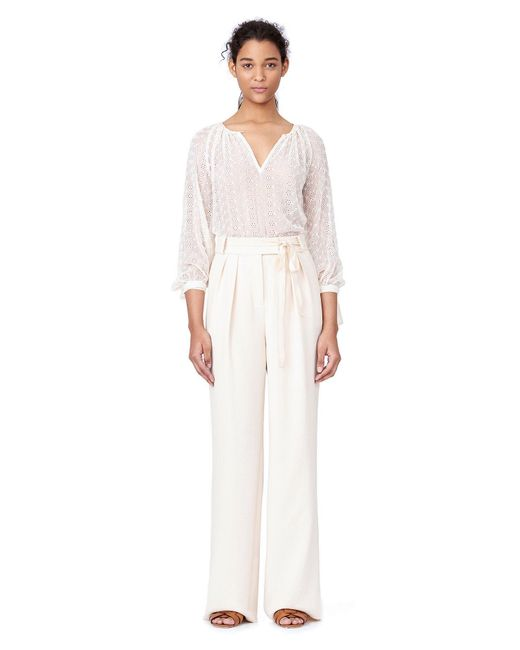 Rebecca Taylor | White Long-sleeve Eyelet Top | Lyst
