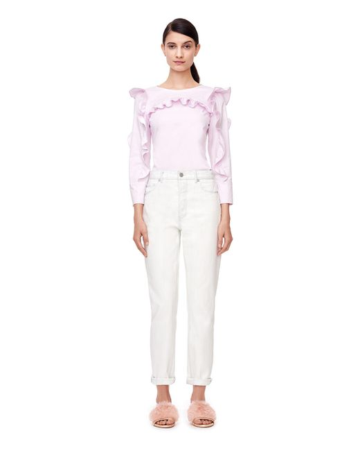 Rebecca Taylor | Pink Cotton Ruffle Top | Lyst