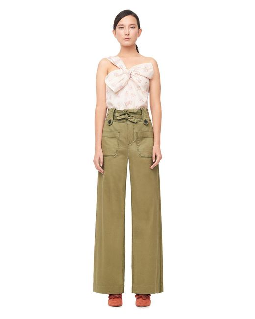 Rebecca Taylor | Green Belted Cotton Twill Trouser | Lyst
