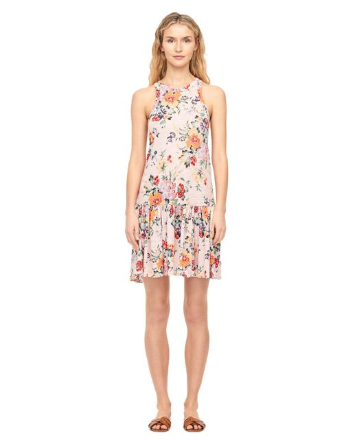Rebecca Taylor - Pink Marlena Floral Linen Jersey Dress - Lyst