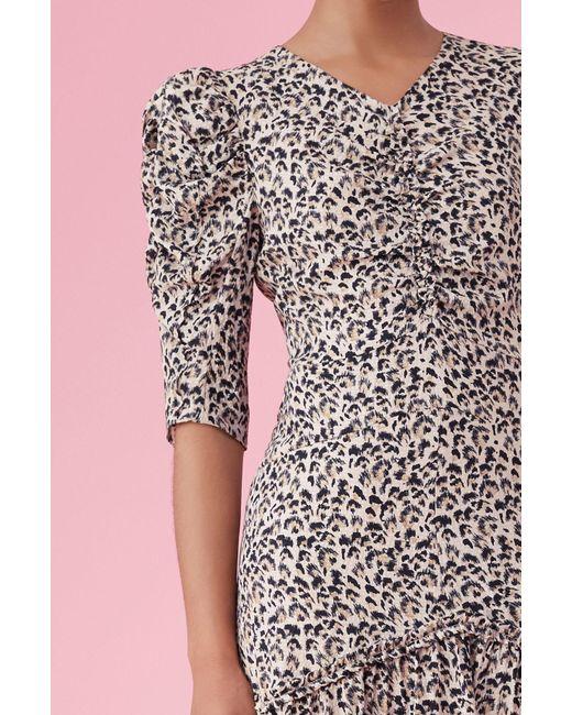 6732a023734 ... Rebecca Taylor - Multicolor Leopard Print Silk Ruched Dress Caramel
