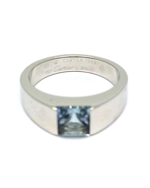 Cartier - Metallic Aquamalin Tank Ring K18wg White Gold #55 - Lyst