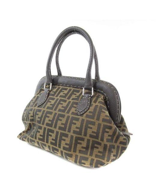 ... mini 3jours tote bag lyst d627c 8d5c5 where to buy fendi brown canvas leather  handbag zucca pattern selia lyst bfad2 95287 ... 43d2f84903da9