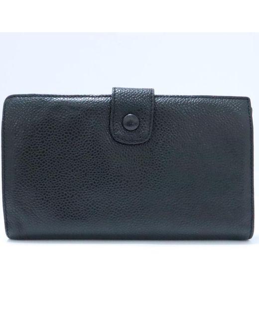 129db59296e0 ... Chanel - Auth Cc Bi-fold Wallet Long Purse Caviar Leather Black Ghw  Used ...