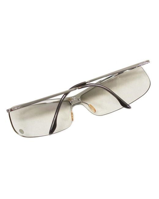 1e086dfc1a8e ... Chanel - Gray Auth Sunglasses With Rhinestone 4043-b Plastic/metal Grey  Used Vintage ...