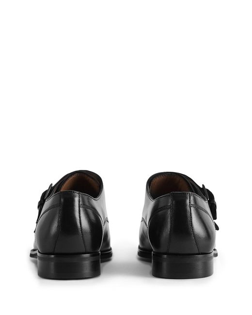 acca1586addf ... Reiss - Black Leicester - Double Monk Strap Cap Toe Shoes for Men -  Lyst ...