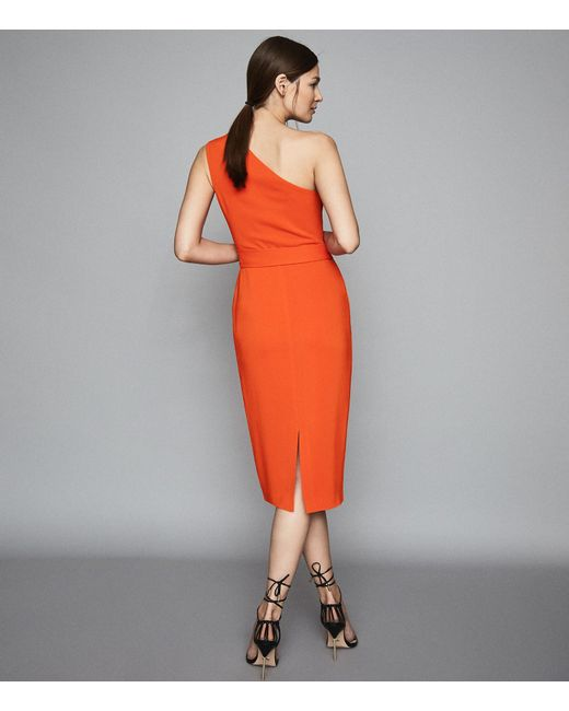 8c62fb07169 ... Reiss - Orange Laurent - One Shoulder Slim Fit Dress - Lyst ...