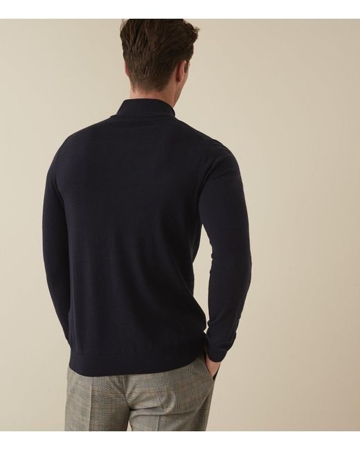 962eb988d69 Reiss Blackhall - Merino Wool Zip Neck Jumper in Blue for Men - Lyst