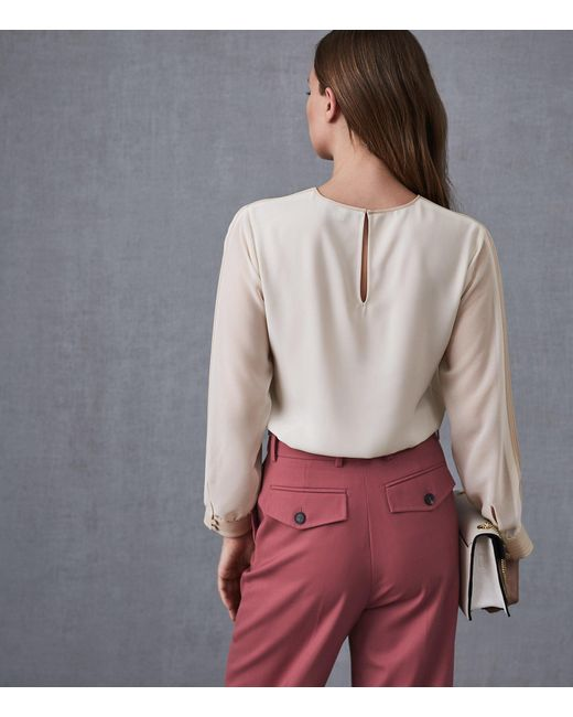 2473d2fc7bf466 ... Reiss - White Hermina - Pleat Detail Blouse - Lyst