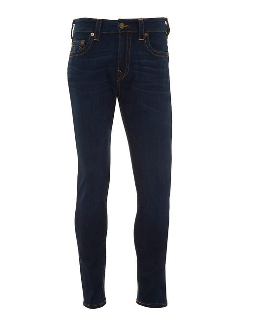 True Religion - Blue Jack Runner Jeans, Tobacco Stitching Dark Whisker Denim for Men - Lyst