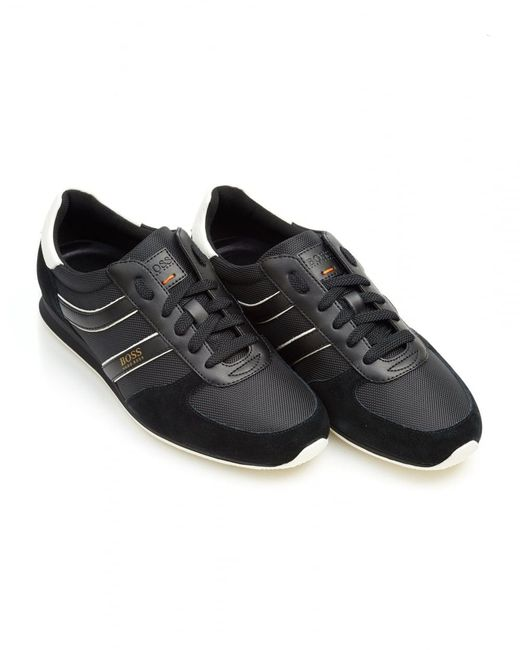 BOSS by Hugo Boss - Orland_runn_ny Trainers, Side Stripe Black Sneakers for Men - Lyst