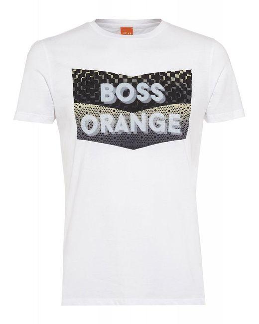 BOSS Orange | T-shirt, 'tripolo 1' Logo Print Slim Fit White Tee for Men | Lyst