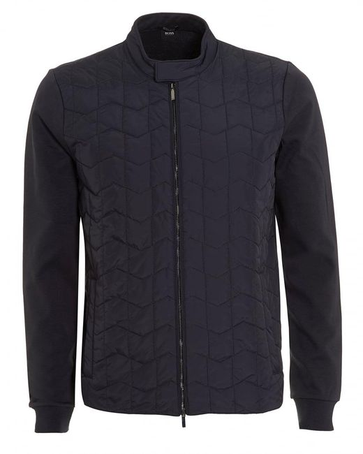 BOSS Black | Shepherd Sweat, Quilted Navy Blue Sweatshirt Jacket for Men | Lyst