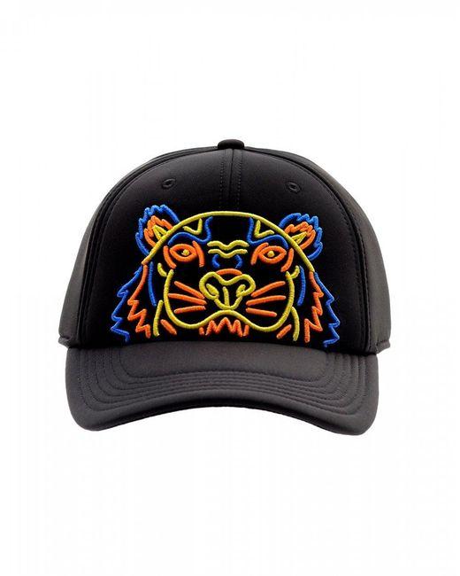 KENZO - Neoprene Neon Tiger Baseball Cap, Black Neon Hat for Men - Lyst