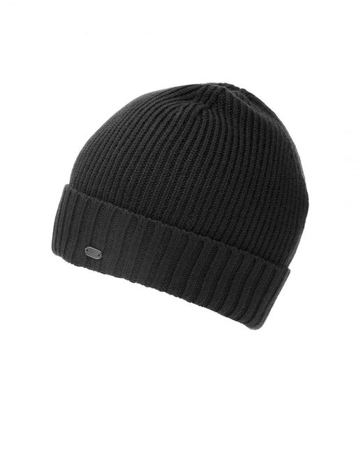 BOSS Athleisure - C-fati2 Beanie, Ribbed Wool Black Hat for Men - Lyst