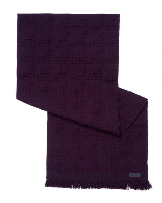 Armani - Purple Waffle Knit Wool Burgundy Scarf for Men - Lyst