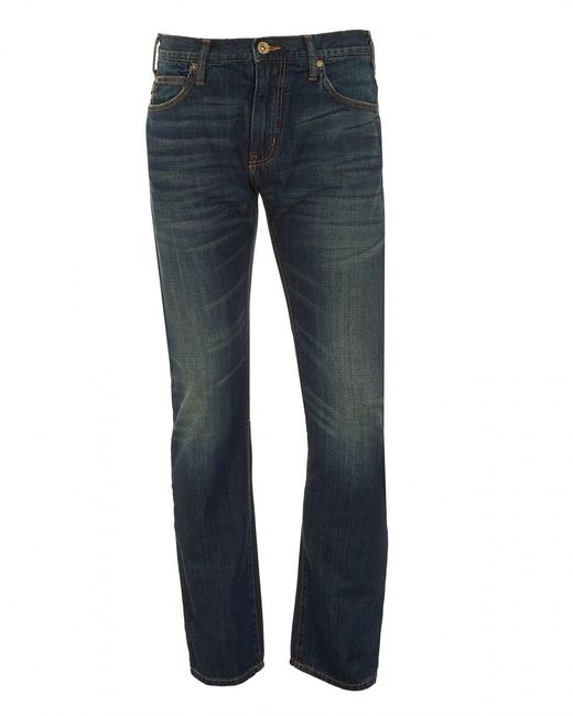 Emporio Armani - J45 Jeans, Dark Whisker Navy Blue Slim Fit Denim for Men - Lyst