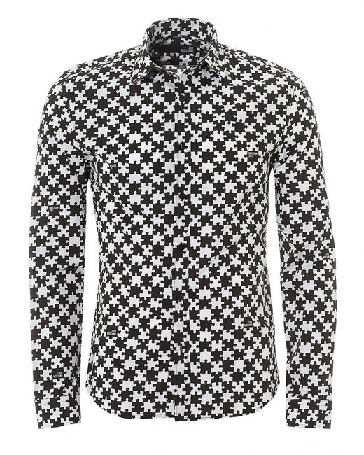 Love Moschino - Black All-over Jigsaw Print Slim Fit Shirt for Men - Lyst