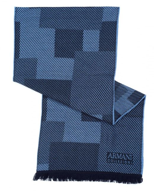 Armani - Diagonal Panel Wool Blue Scarf for Men - Lyst