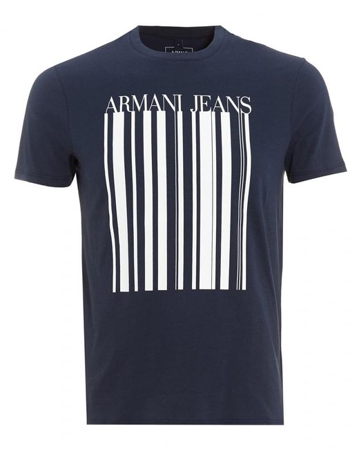 Armani Jeans | T-shirt, Barcode Logo Navy Blue Tee for Men | Lyst