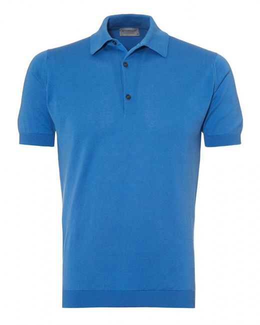 John Smedley - Adrian Polo Shirt, Sea Island Cotton Buttondown Blue Polo for Men - Lyst