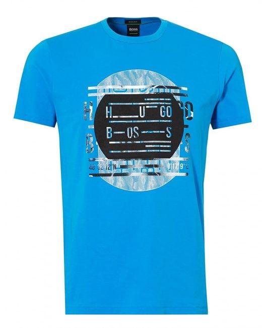 BOSS Athleisure - Tee 4 T-shirt, Record Deck Print Blue Astor Tee for Men - Lyst