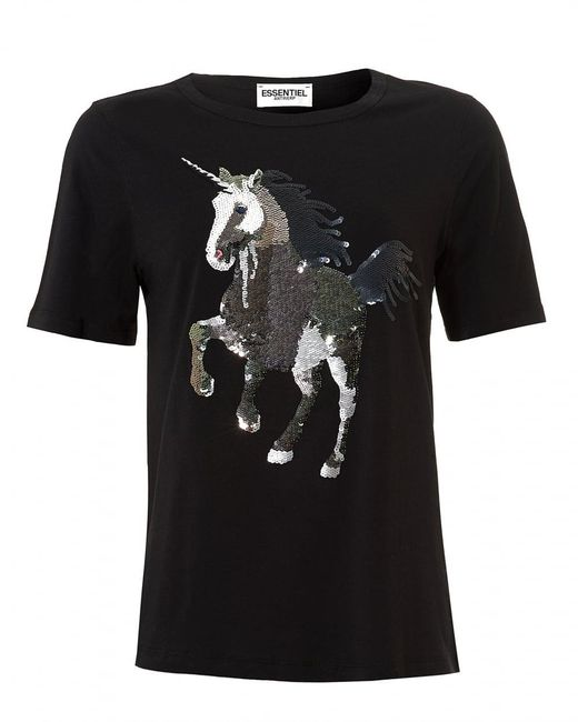 Lyst essentiel antwerp omylord t shirt sequin unicorn for Sequin t shirt changing