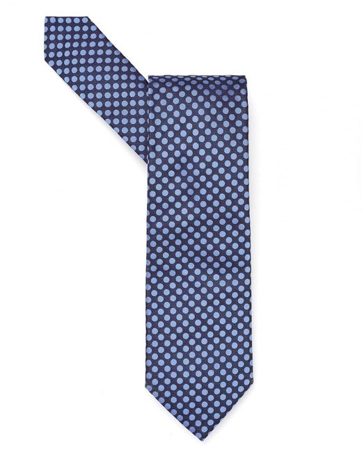 BOSS Black | Navy Blue Contrast Polka Dot Tie for Men | Lyst