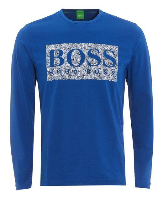BOSS - Togn 1 T-shirt, Monaco Blue Long Sleeve Logo Tee for Men - Lyst